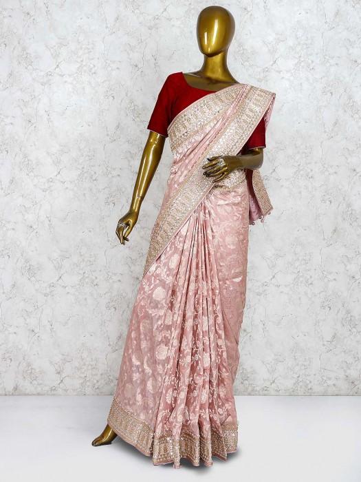 Pure Silk Saree In Pink Color