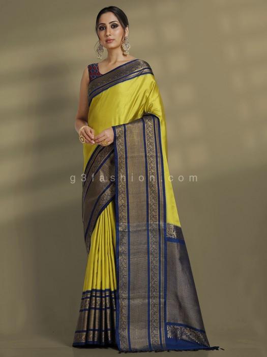 Pure Silk Traditional Wear Green Designer Saree