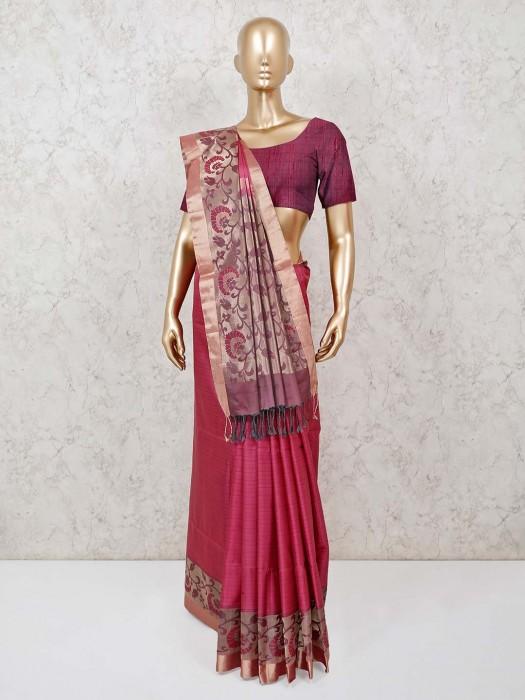 Pure Silk Wedding Pink Saree