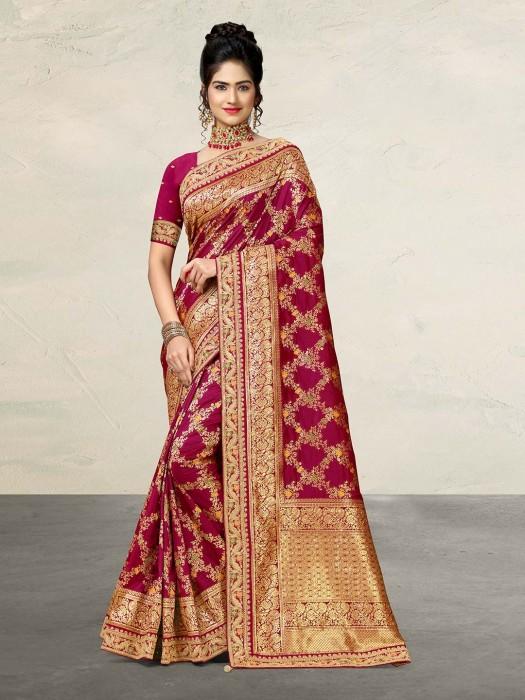 Purple Bright Look Banarasi Silk Saree