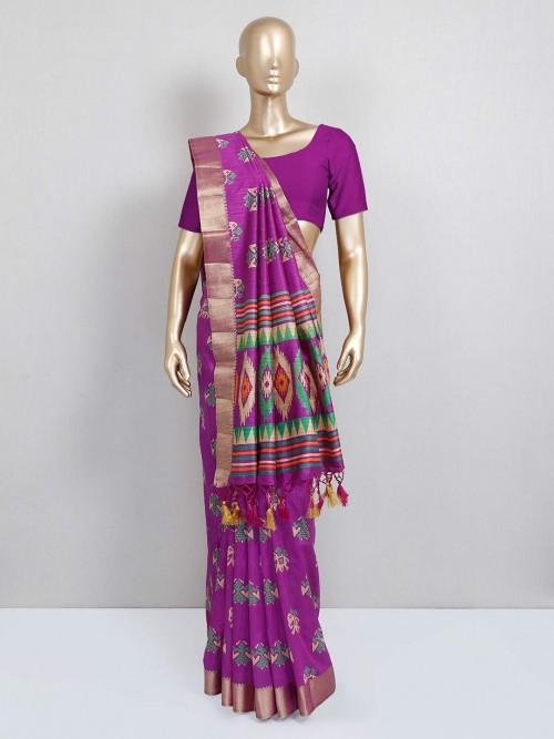 Purple Colored Cotton Silk Saree