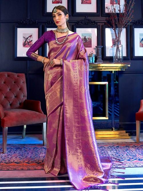Purple Colored Kanjivaram Saree