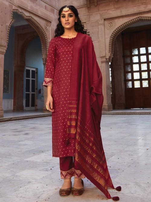 Purple Cotto Punjabi Pant Suit With Dupatta