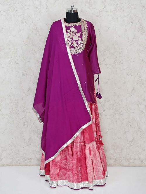 Purple Cotton Silk Lehenga Suit For Wedding