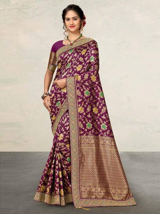 Purple Designer Banarasi Silk Saree