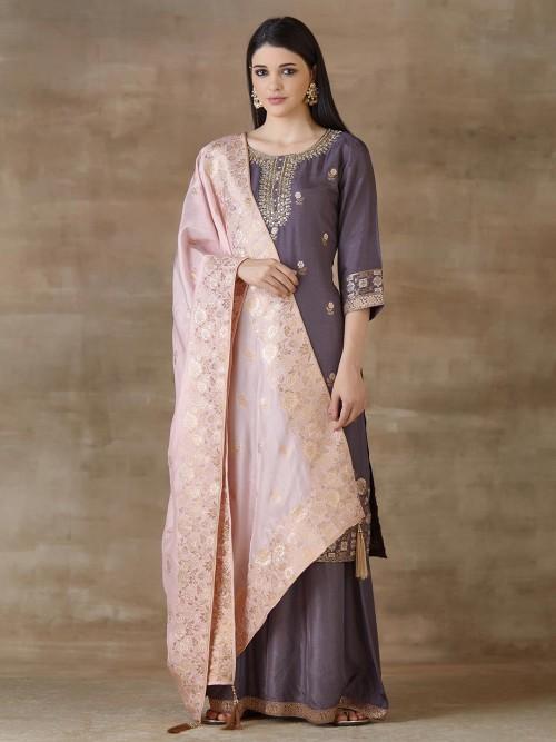 Purple Designer Sharara Salwar Suit Cotton For Festivals