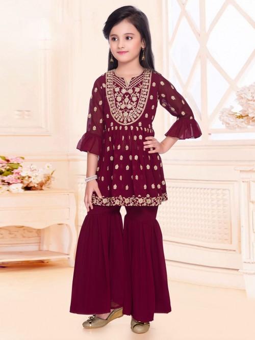Purple Party Wear Punjabi Sharara Suit In Georgette