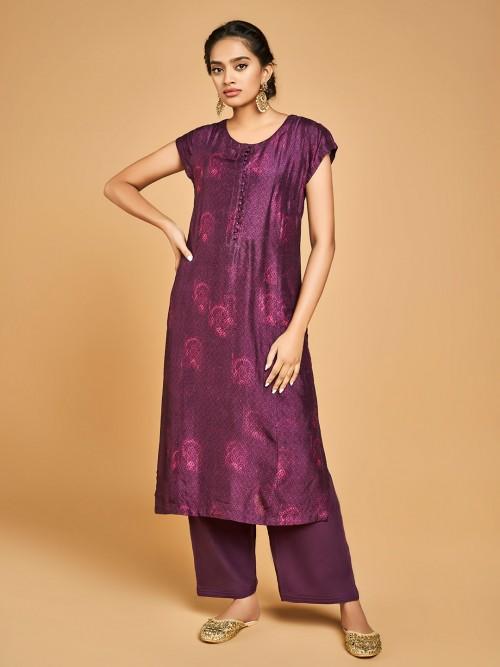 Purple Punjabi Palazzo Suit Design In Cotton Silk