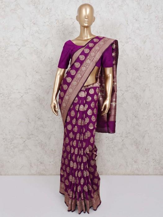 Purple Wedding Banarasi Silk Saree