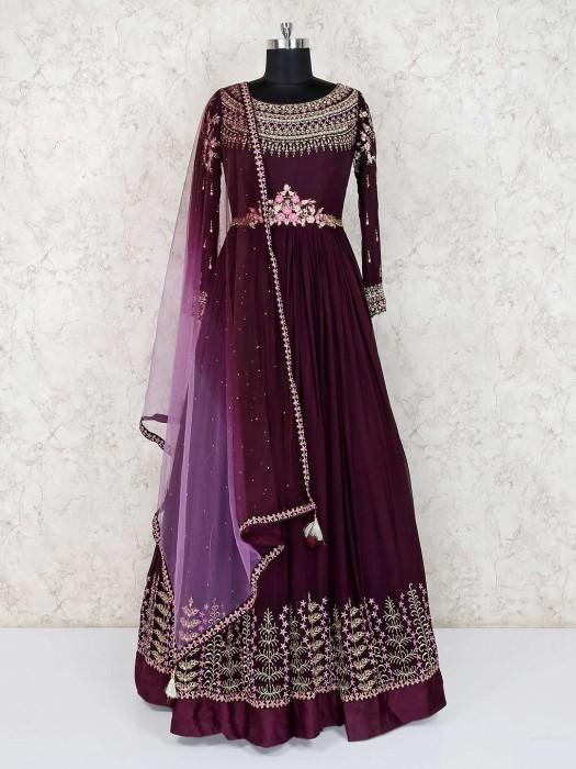 Purple Wine Designer Wedding Wear Anarkali Suit