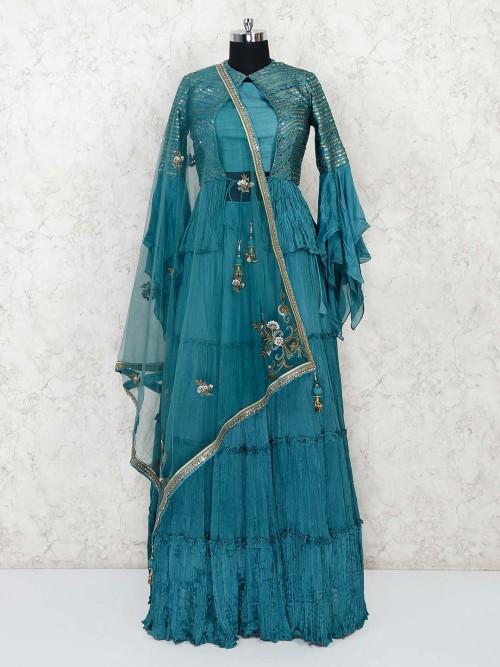 Rama Green Cotton Silk Party Jacket Style Lehenga Choli