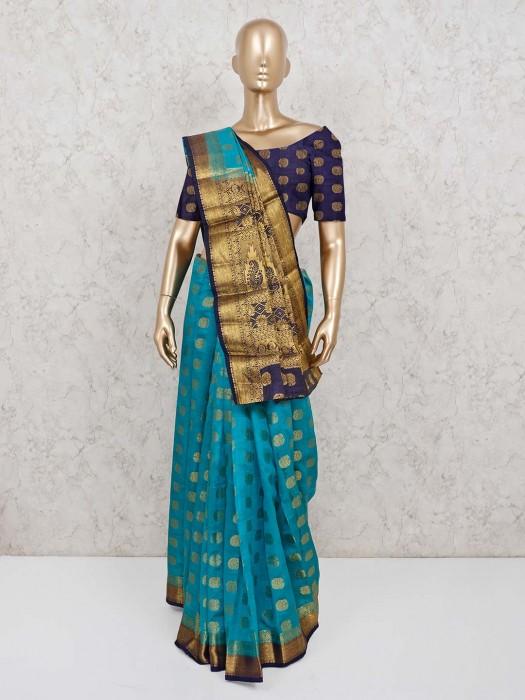 Rama Green Festive Saree In Semi Cotton Silk