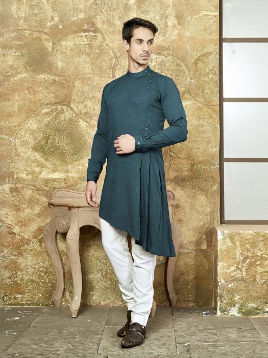 Rama Green Kurta Suit For Festive