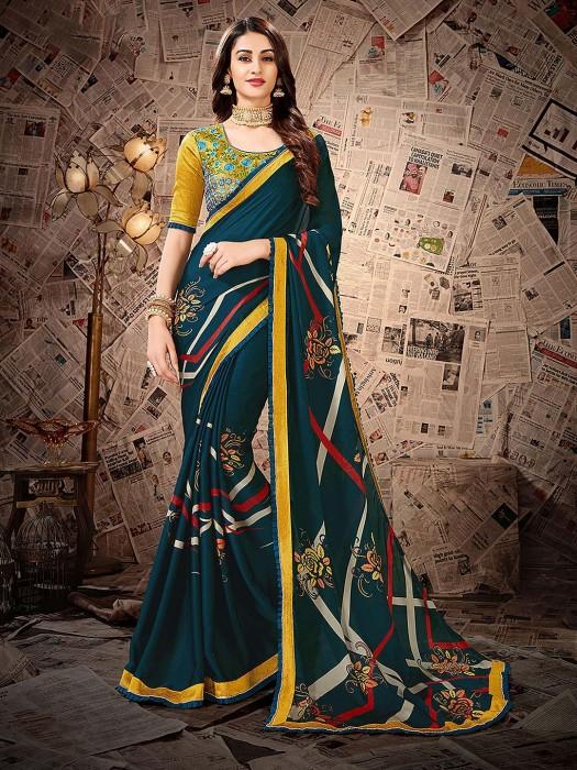 Rama Green Satin Georgette Printed Saree