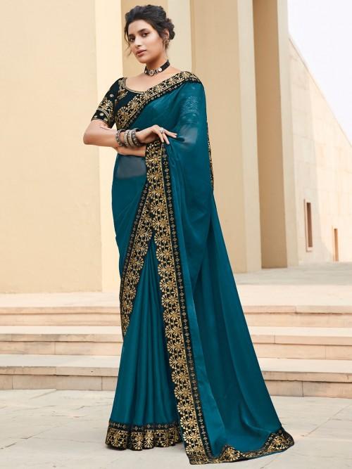 Rama Green Satin Saree For Winter Weddings