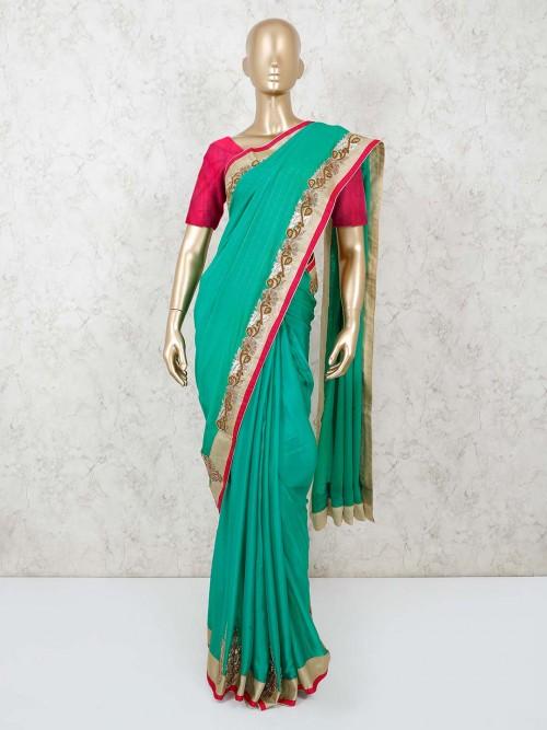 Rama Green Satin Silk Saree With Heavy Lace Border