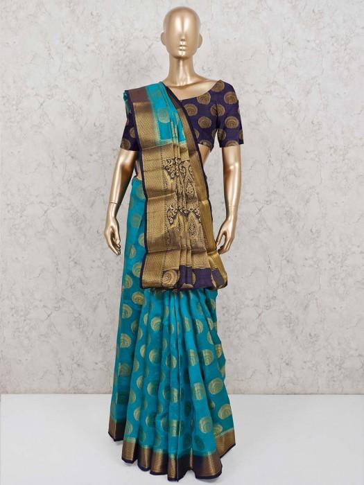 Rama Green Semi Cotton Silk Saree