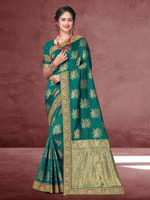 Rama Green Silk Saree With Matching Pallu