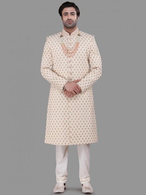 Raw Silk Beige Wedding Sherwani Set