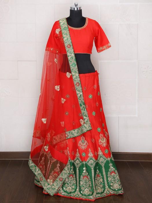 Raw Silk Bridal Wear Unstitched Alluring Lehenga Choli