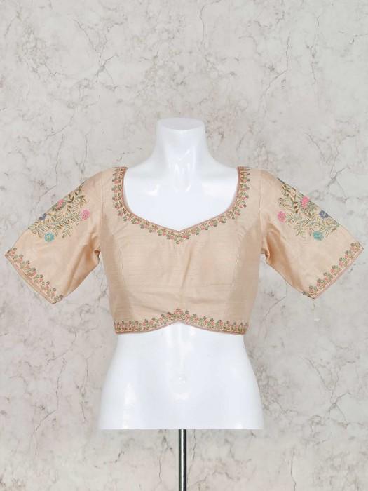 Raw Silk Cream Color Ready Made Blouse