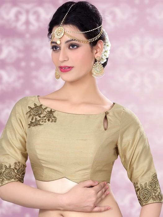 Raw Silk Cream Designer Ready Made Blouse