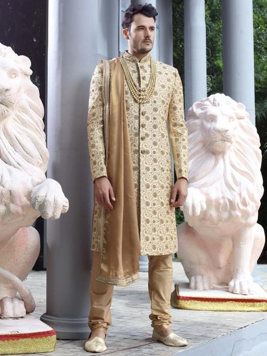 Raw Silk Fabric Beige Hue Groom Wear Sherwani