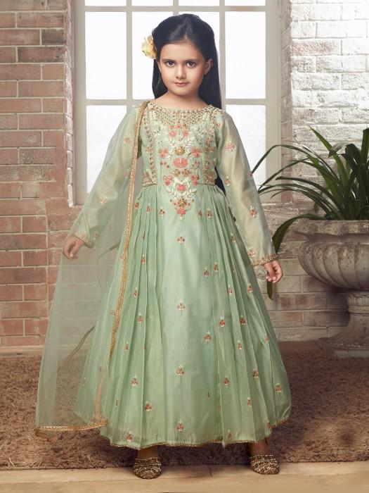 Raw Silk Fabric Green Hued Anarkali Suit