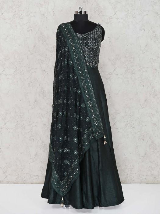 Raw Silk Green Party Wear Anarkali Salwar Suit