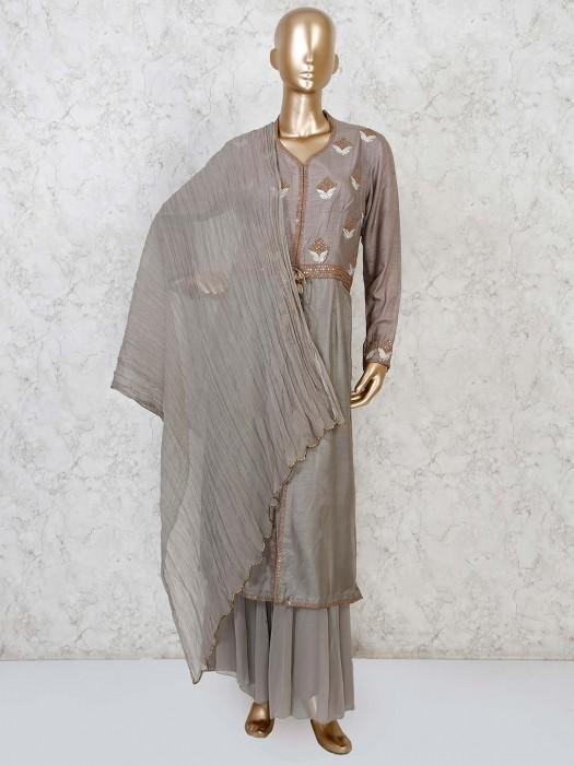 Raw Silk Grey Designer Sharara Suit
