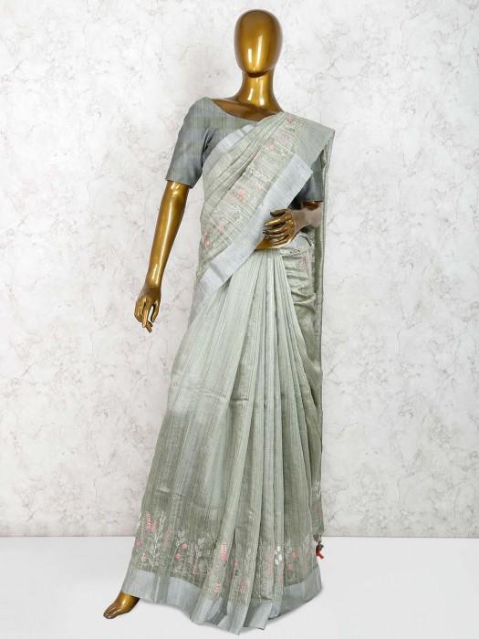 Raw Silk Saree In Pista Green