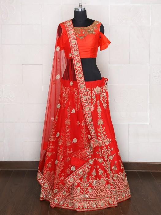 Raw Silk Unstitched Bridal Wear Lehenga Choli