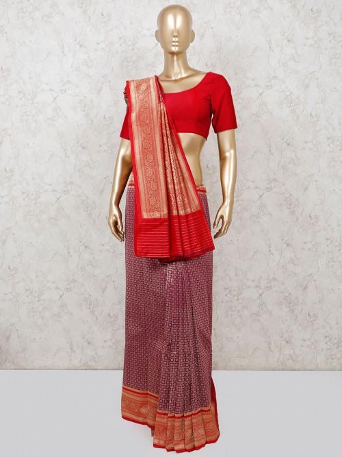 Reception Classic Purple Saree In Semi Silk
