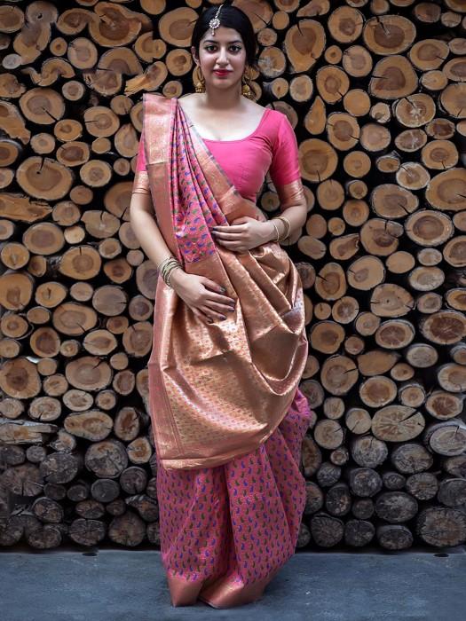 Reception Wear Pink Banarasi Silk Saree