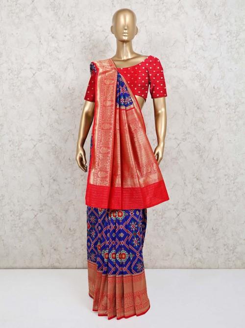 Red Abd Blue Patola Silk Wedding Saree