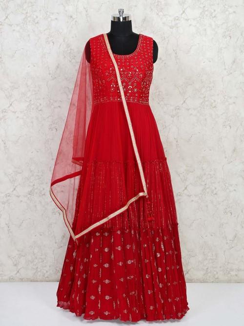 Red Anarkali Georgette Salwar Kameez