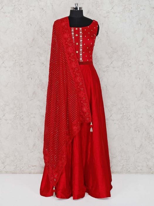 Red Anarkali Salwar Suit In Raw Silk