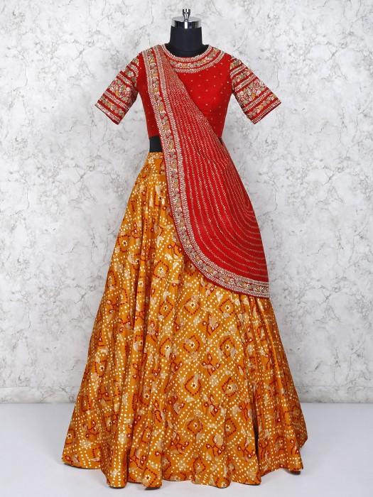 Red And Orange Silk Wedding Lehenga Choli