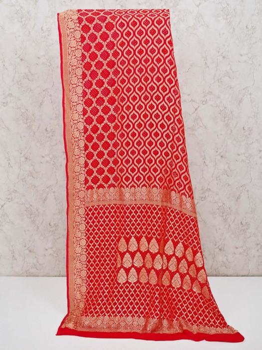 Beautiful Red Traditional Wear Bandhej Sari