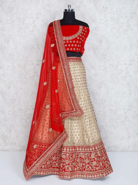 Red Beige Designer Velvet Net Semi Stitched Lehenga Choli