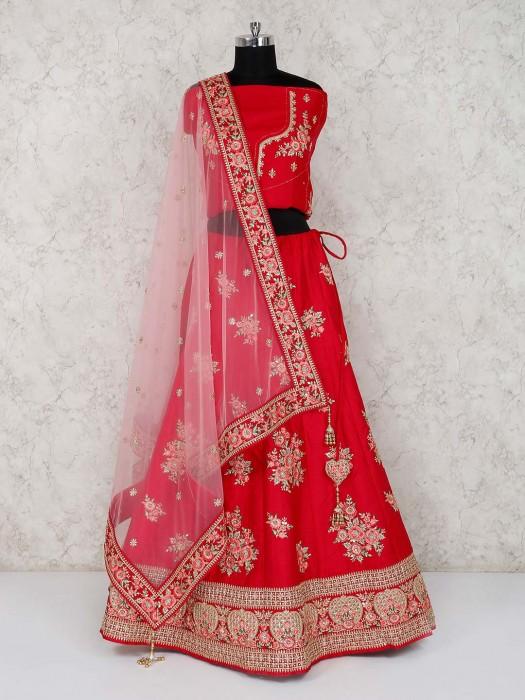 Magenta Bridal Wear Semi Stitched Silk Lehenga Choli