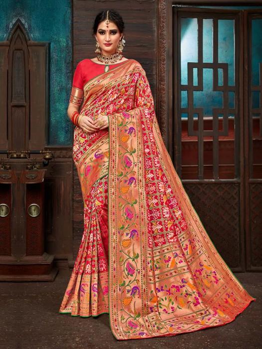 Red Color Khambhat Patola Silk Saree