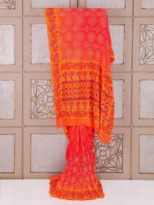 Red Color Wedding Bandhej Saree