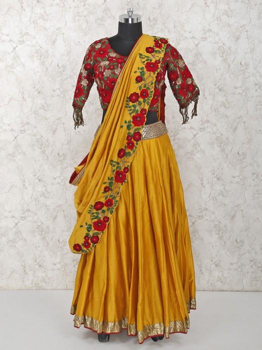 Red Color Wedding Silk Lehenga Choli