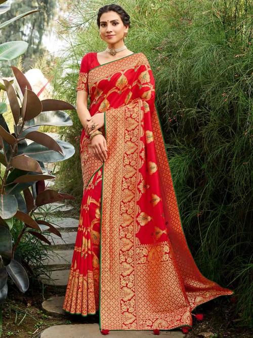 Red Coloured Banarasi Silk For Wedding Session