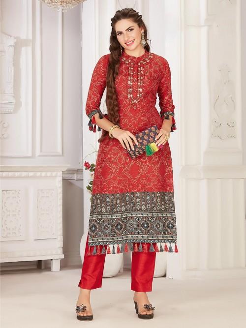 Red Cotton Festive Wear Women Kurti