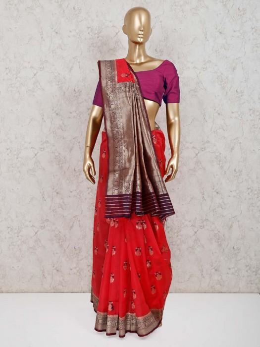 Red Cotton Silk Festive Occasion Saree