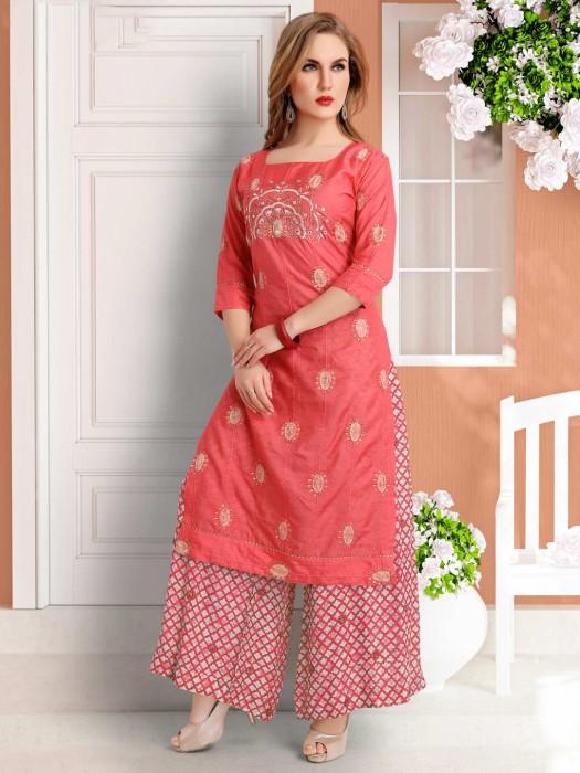 Red Cotton Silk Festive Wear Palazzo Suit