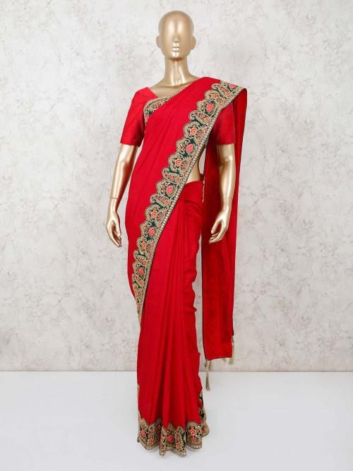 Red Cotton Silk Saree For Wedding