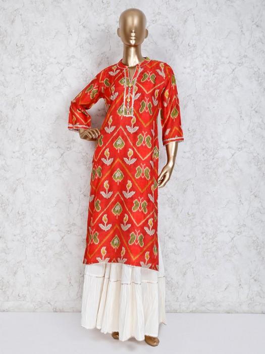 Red Cotton Stand Neck Sharara Set